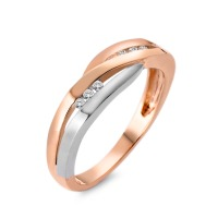 Fingerring 750/18 K Rotgold, 750/18 K Weissgold Diamant 0.06 ct-537797