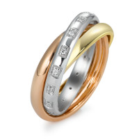 Fingerring 750/18 K Gelbgold, 750/18 K Weissgold, 750/18 K Rotgold Diamant 0.10 ct-542320