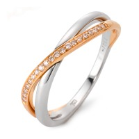 Fingerring 750/18 K Weissgold, 750/18 K Rotgold Diamant 0.10 ct-546278