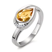 Fingerring 750/18 K Weissgold Citrin 0.02 ct-558137