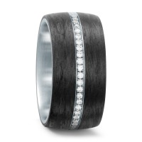Fingerring Edelstahl, Carbon Diamant 0.175 ct