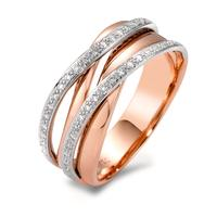 Fingerring 750/18 K Rotgold, 750/18 K Weissgold Diamant 0.18 ct-565935