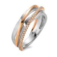 Fingerring 750/18 K Weissgold, 750/18 K Rotgold Diamant 0.20 ct-566020