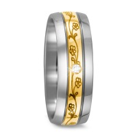 Fingerring Titan, 750/18 K Gelbgold Diamant 0.03 ct